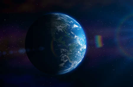 Planet Earth In outer space in the sun with a lens effect. 3D illustration