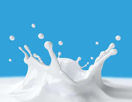 Splash of milk on a blue background. 3d illustration