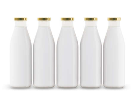Milk bottles are lined up. Isolated on a white background. 3D illustration. Stock Photo
