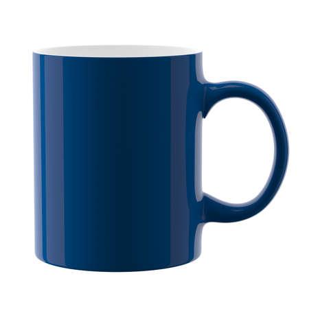 Blue mug. Isolated on white background. 3D illustration. Zdjęcie Seryjne