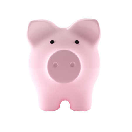 Pink piggy bank isolated on white background. 3D illustration
