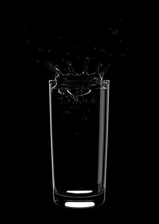 A splash of water in a glass on a black background. 3D illustration Zdjęcie Seryjne