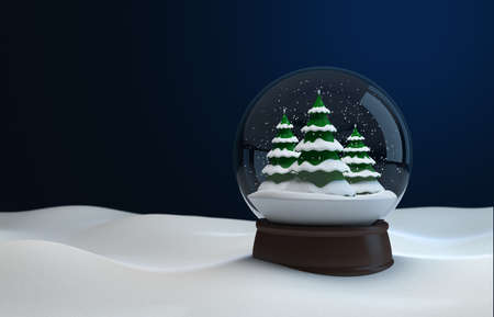 Snow globe with christmas trees at night in the snow. 3D illustration Zdjęcie Seryjne