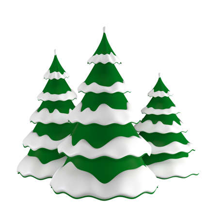 Christmas trees in the snow. Isolated over white background. 3D illustration