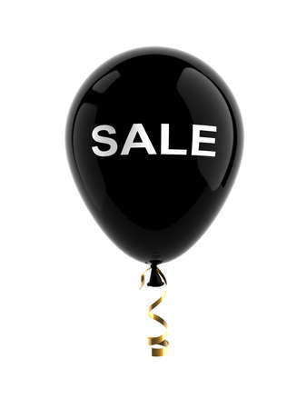 Black ball with the word sale, discount symbol. Isolated on a white background. 3D illustration. Zdjęcie Seryjne