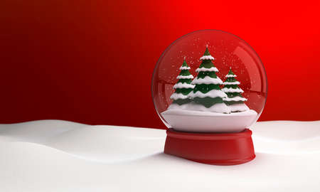 Snow globe at night in the snow in the winter. 3D illustration Zdjęcie Seryjne - 132432768