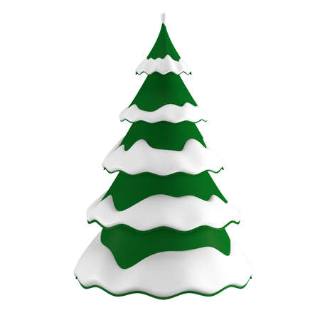 Christmas tree in the snow. Isolated over white background. 3D illustration Zdjęcie Seryjne