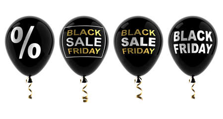 Set of balloons with the words black friday, sale, percentage. Discount symbol. Isolated on a white background. 3D illustration.