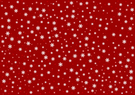 Red snow pattern. Falling snowflakes on a red background. Vector illustration