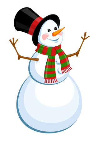 Cheerful snowman in a hat. Isolated on a white background. Vector illustration.