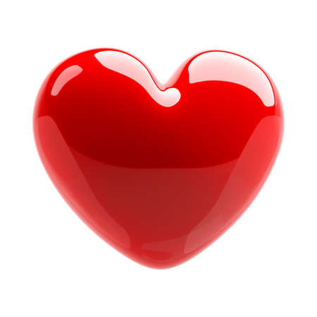 Red glossy heart. Love symbol. Isolated on white background. 3d Illustration