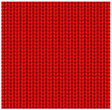 Red seamless texture of knitting woolen clothes. Christmas Red Knitted Pattern. Vector illustration. Ilustracja