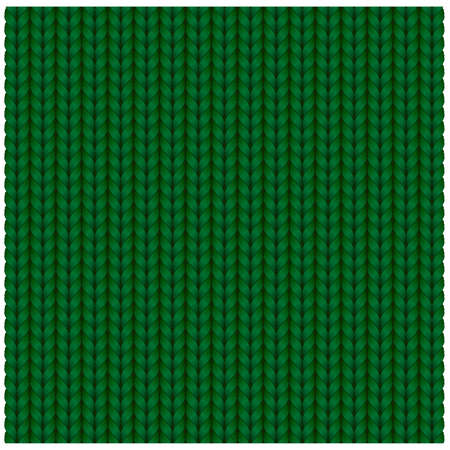 Green seamless texture of knitting woolen clothes. Christmas Red Knitted Pattern. Vector illustration. Ilustracja