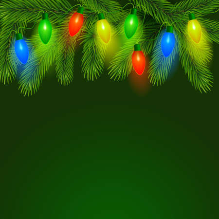 Fir background with christmas illumination. Vector illustration. To create cards, banners, posters. Zdjęcie Seryjne - 134401701