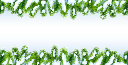 Background with Christmas tree branches in the snow.Isolated over white background. Great for New Year banners, cards, posters.