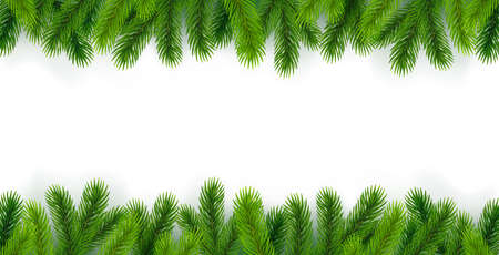 White background with Christmas tree branches around the edges.Isolated over white background. Great for New Year banners, cards, posters.