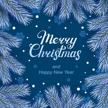 Christmas banner. Snowy Christmas tree branches, on a blue background with flying snowflakes. Vector illustration.  イラスト・ベクター素材