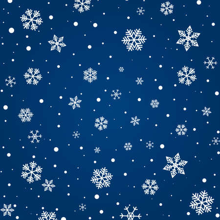 Blue snowy christmas background. Pattern with snowflakes. Vector illustration.