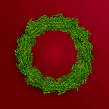 Christmas wreath of fir branches on a red background. Vector illustration