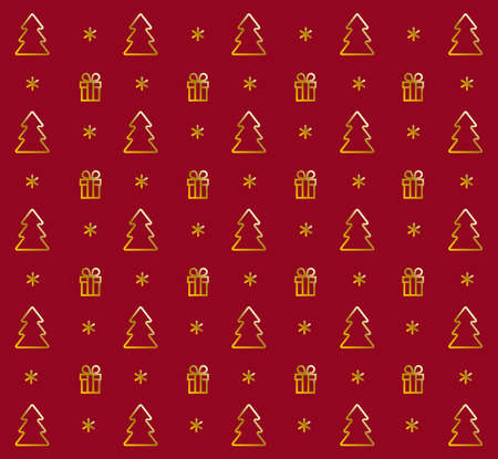 Christmas pattern with golden Christmas trees, gifts, and snowflakes on a red background.