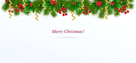 Christmas greeting card decorated with spruce twigs, berries and holly leaves around the edges.