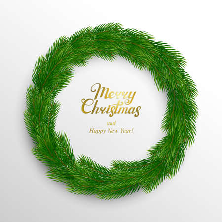 Christmas wreath of fir branches on a white background with a congratulation. Vector illustration. Ilustracja