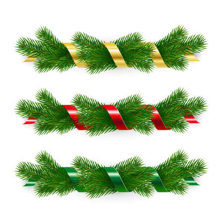 Set of Christmas garlands of fir branches twined with ribbons. Ilustracja