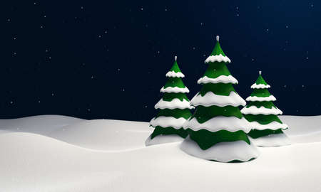 Winter landscape with snowy fir trees. Decorative 3d illustration.