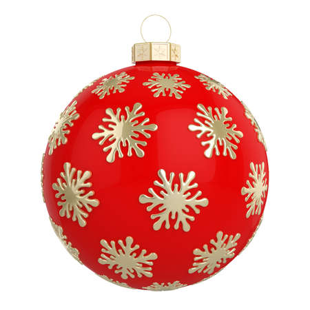Red Christmas ball decorated with golden snowflakes. Isolated on a white background. 3D illustration