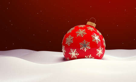 Red christmas ball in the snow. Christmas background. 3D illustration. Stock Photo