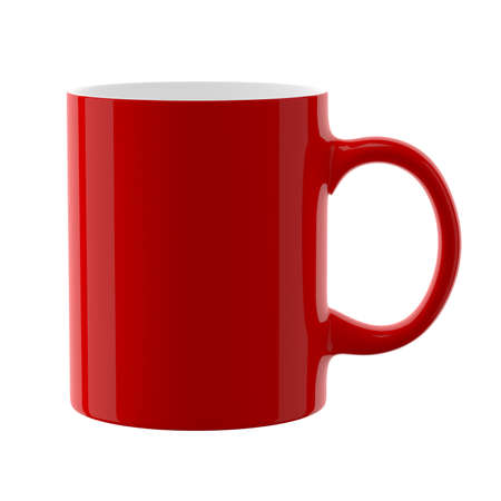 Red cup. Isolated on a white background. 3D illustration. Great for mock-up. Zdjęcie Seryjne