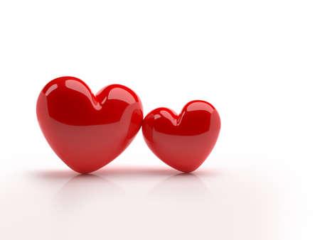Two hearts on a white background. Symbol of love. 3D illustration Zdjęcie Seryjne