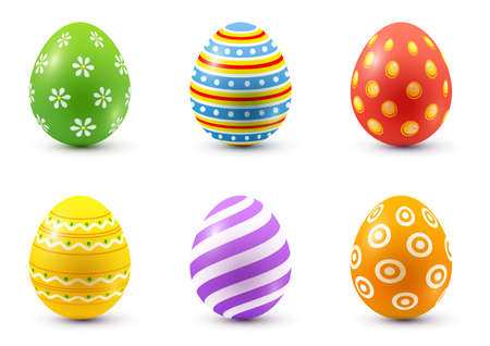 Set of painted easter eggs. Isolated over white background. Vector illustration. Zdjęcie Seryjne - 143690850