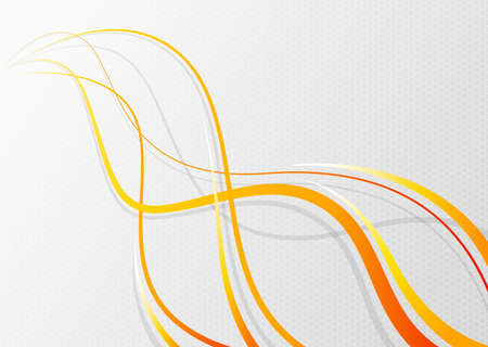 Abstract wavy background. Orange wavy lines on a mesh background. Vector illustration