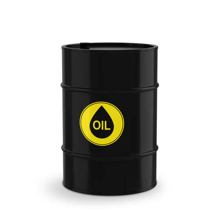 Barrel with oil products. Isolated on a white background. 3D illustration