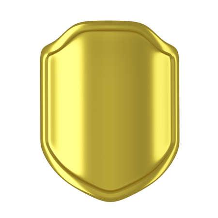 Golden shield isolated on white background. 3D illustration Zdjęcie Seryjne