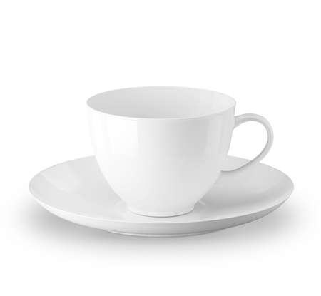 White cup and saucer. Isolated on a white background. 3D illustration