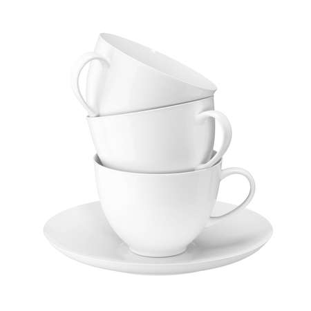 A tower of white coffee cups. Isolated over white background. 3D illustration