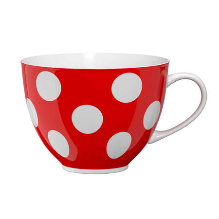 Red cup with polka dots. Isolated on white background. 3D illustration Zdjęcie Seryjne