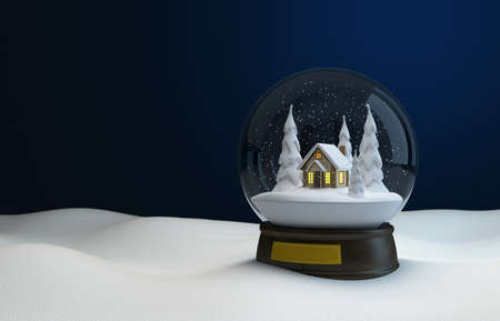 Snow globe at night in the snow. 3D illustration Zdjęcie Seryjne