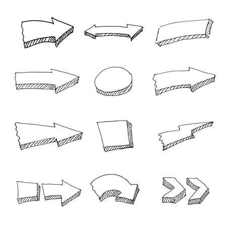 Vector hand-drawn arrows. A set of arrows of various shapes. Vector illustration.