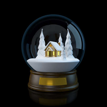 Snow globe with winter snowy landscape with a house in the forest. 3D illustration