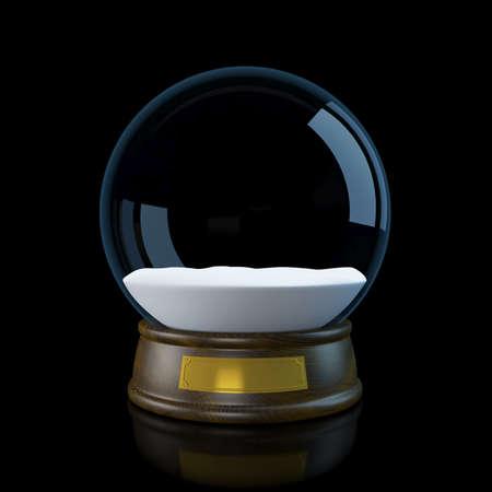 Snow globe on a black background. 3D illustration