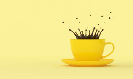 Yellow cup with splashes of coffee on a colored background. 3D render Reklamní fotografie