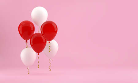 Red and white balloons on a pink background. Festive background. 3D render.