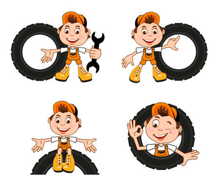 Cartoon character of a car workshop worker. A set of character poses. Vector illustration for use in auto shop design projects.