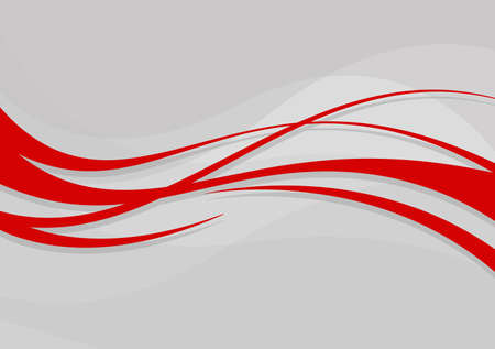 Abstract wavy background. Red lines on a gray background Ilustrace