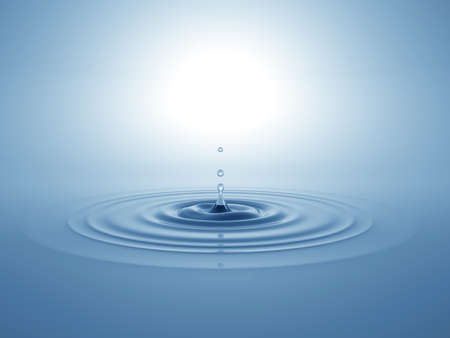 Water drop fell on the water surface. 3D illustration