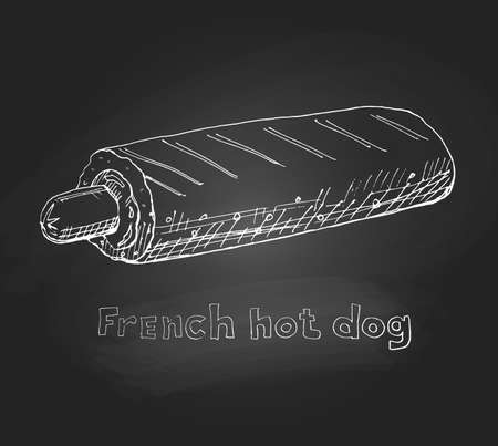 Fast food, French hot dog. Freehand drawing. Vector illustration.