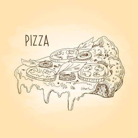 Pizza. Freehand drawing. Slice of pizza with cheese, tomatoes and olives. Vector illustration Ilustrace
